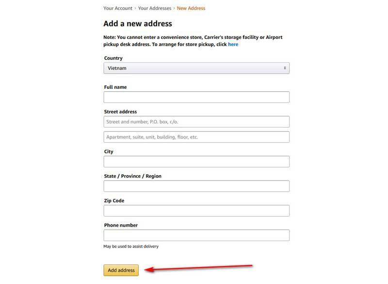 Điền thông tin địa chỉ nhận hàng