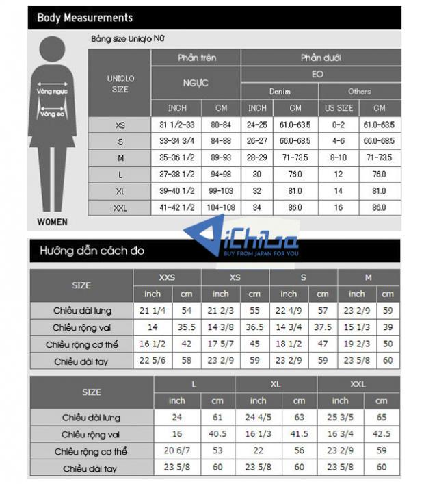 Bảng đo size Uniqlo Nữ